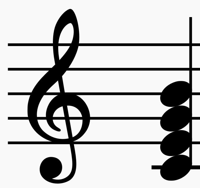 C Major seventh chord on musical staff