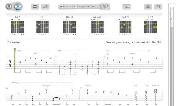 Is there a way to show chords (e.g. Am, B, etc)? : Songsterr Tabs with Rhythm